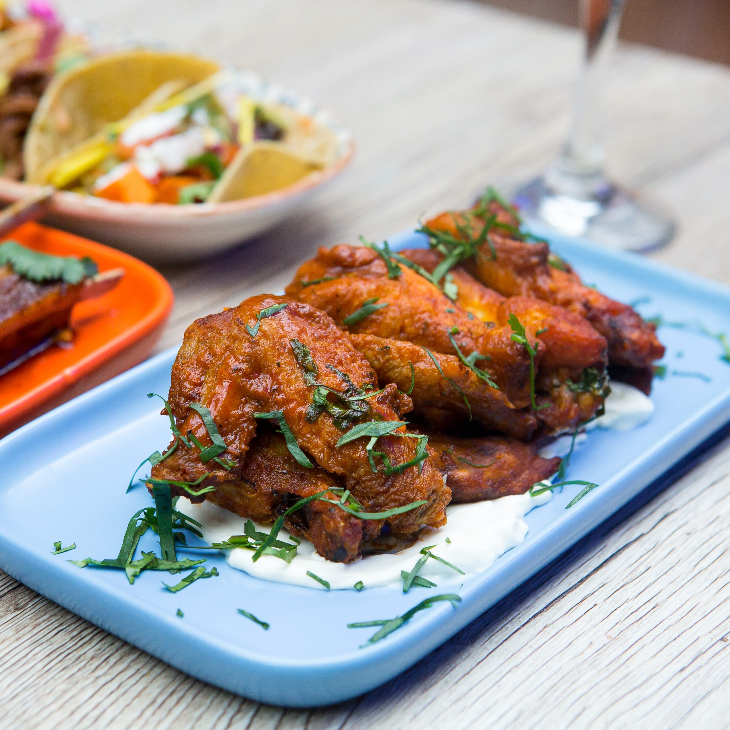 Mexican Food: Buffalo chicken wings served on a plate