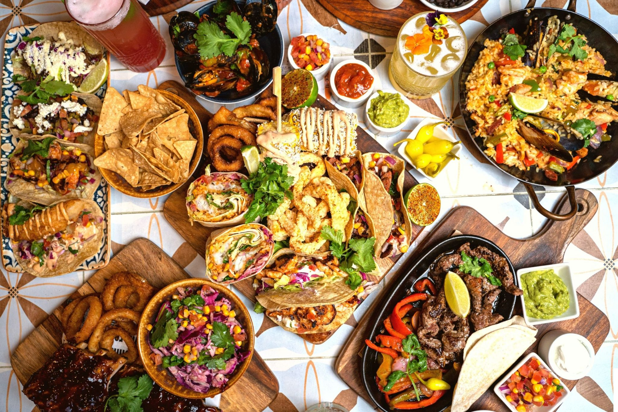 Mexican Food: A selection of La Cabra food served on a table