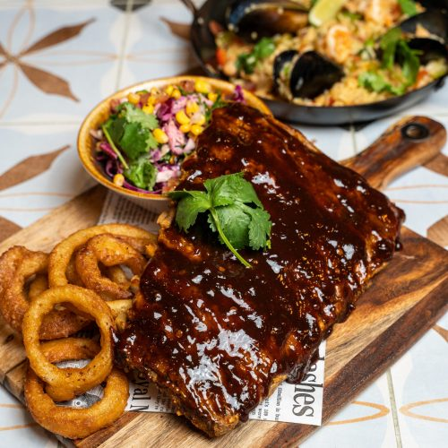 Mexican Food: BBQ Chipotle Pork Ribs with fried onion rings
