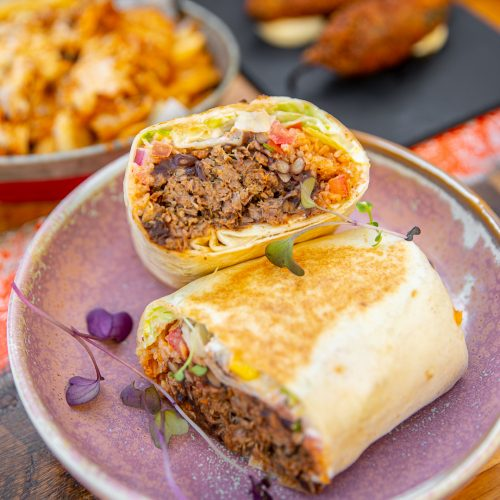 Mexican Food: Lamb Burrito served on a plate